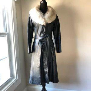 Vintage Leather / Fur Long Coat